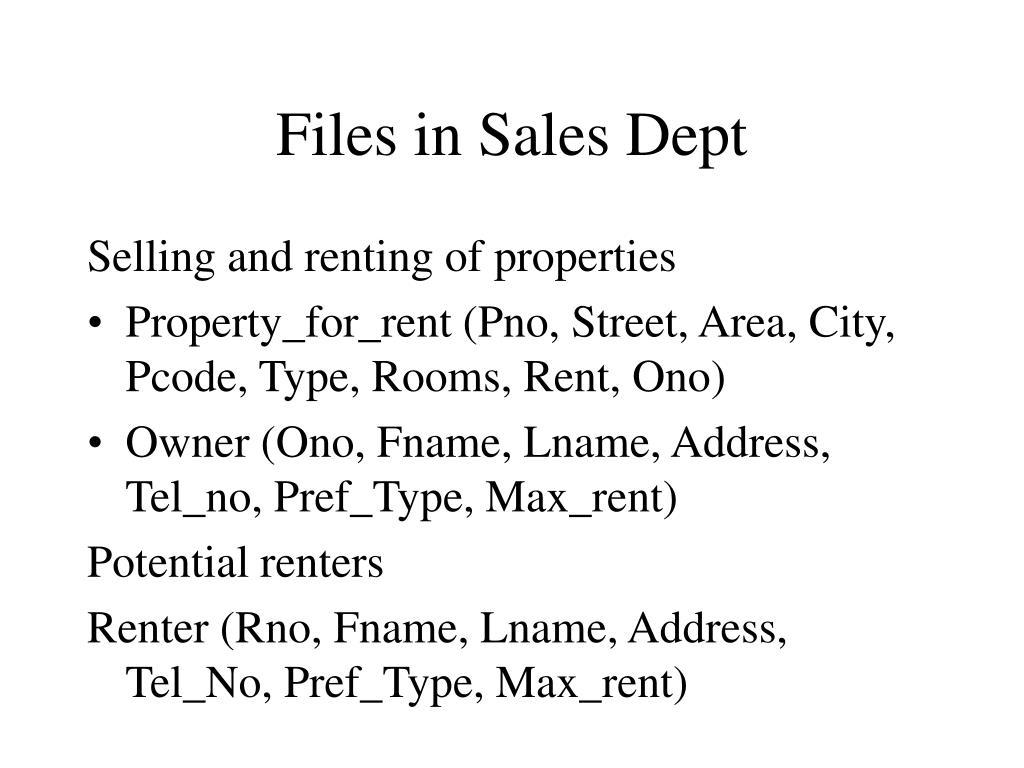 Files in Sales Dept