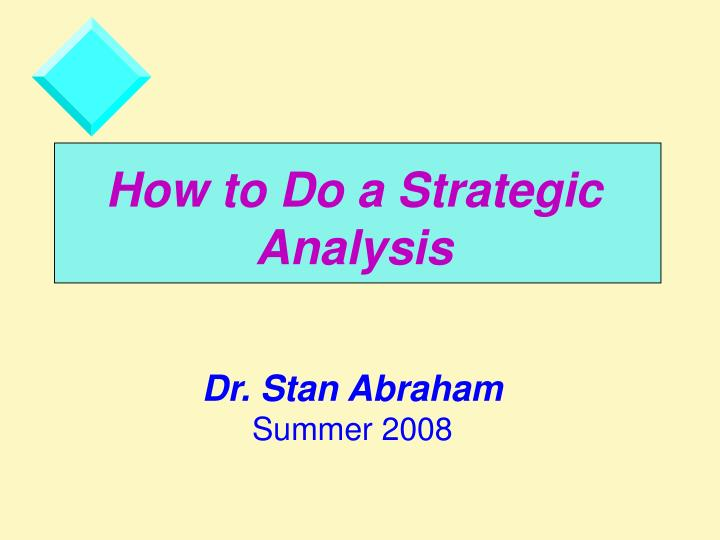 how to do a strategic analysis n.