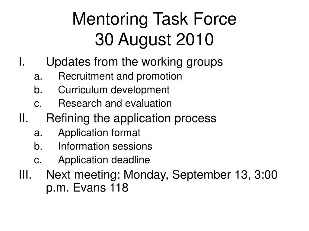 mentoring task force 30 august 2010 l.