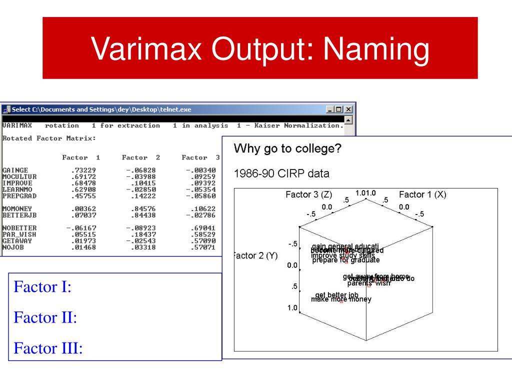Varimax Output: Naming