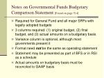notes on governmental funds budgetary comparison statement found on page 514