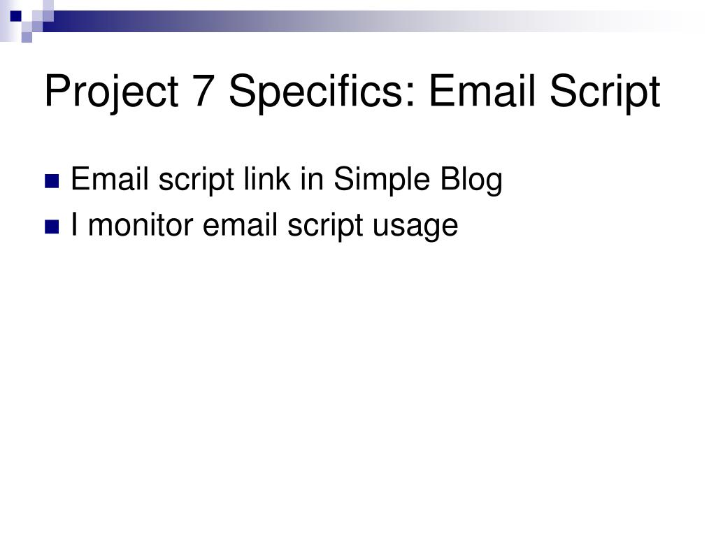 Project 7 Specifics: Email Script