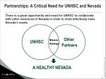 partnerships a critical need for unhsc and nevada
