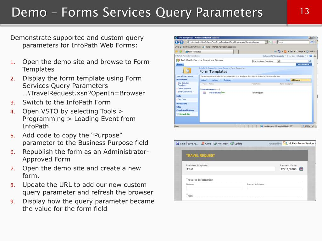 Demo – Forms Services Query Parameters