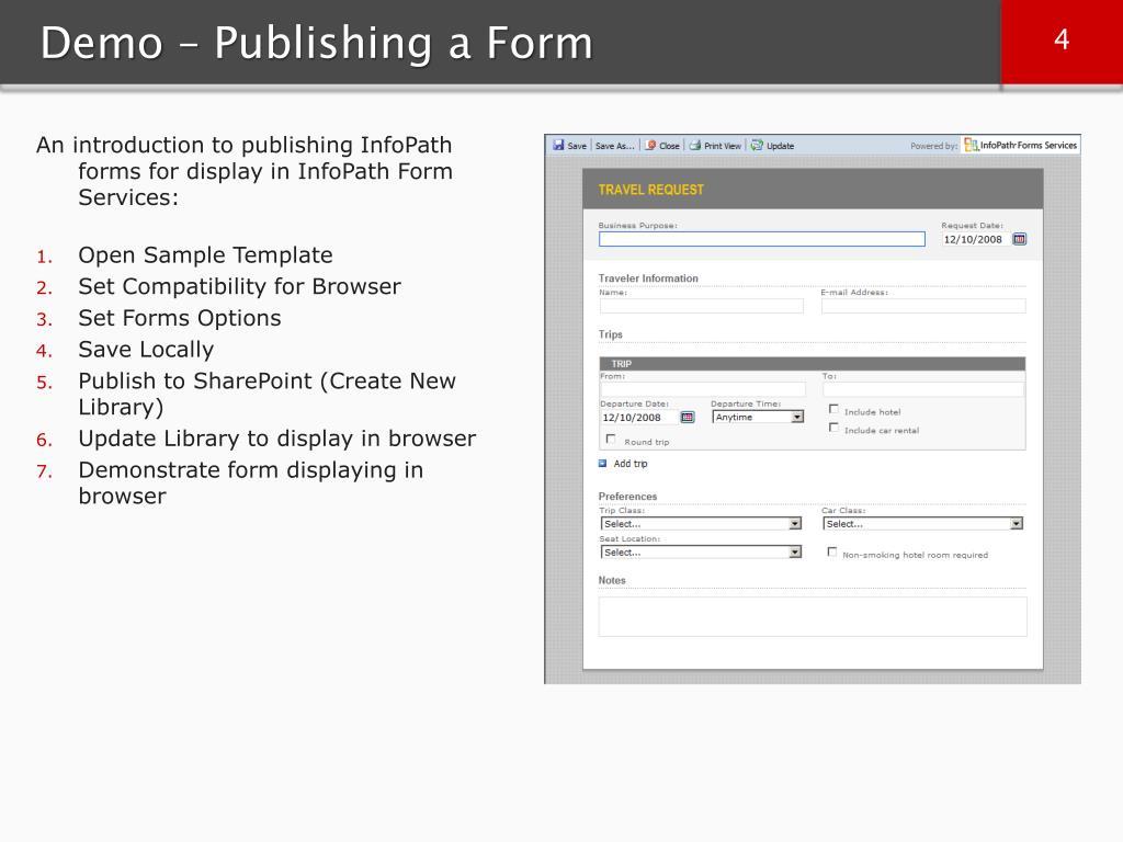 Demo – Publishing a Form