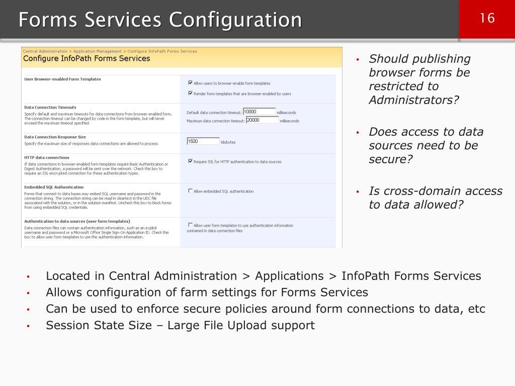 Forms Services Configuration