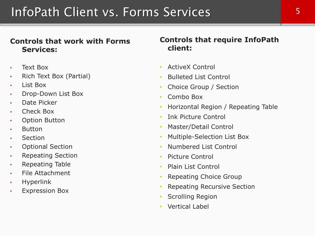 InfoPath Client vs. Forms Services