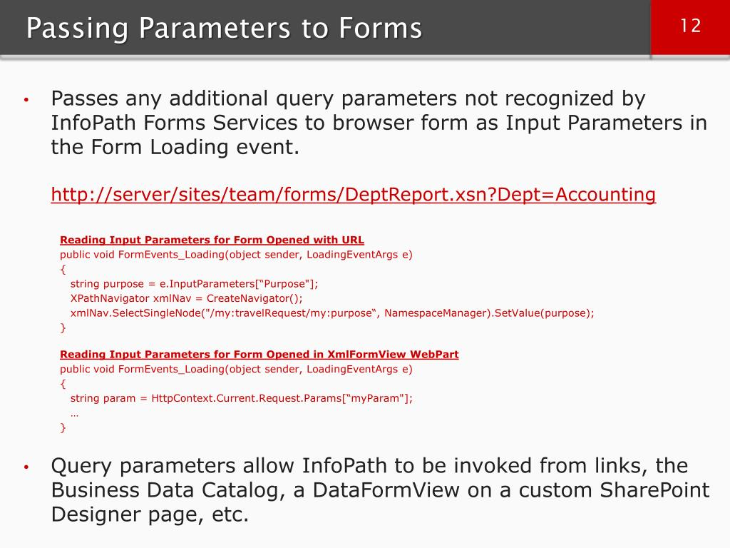 Passing Parameters to Forms