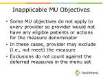 inapplicable mu objectives