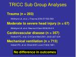 tricc sub group analyses