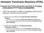hemolytic transfusion reactions htrs10