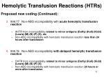 hemolytic transfusion reactions htrs11