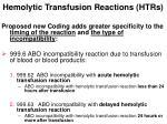 hemolytic transfusion reactions htrs9