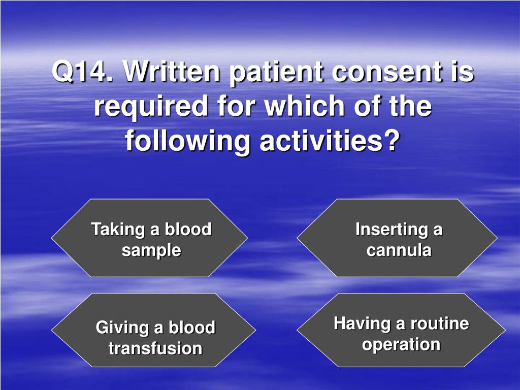 Q14. Written patient consent is required for which of the following activities?