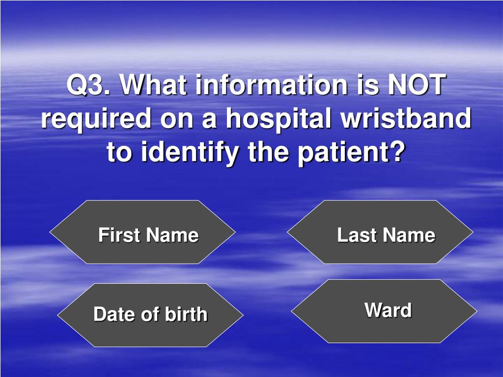 Q3. What information is NOT required on a hospital wristband to identify the patient?