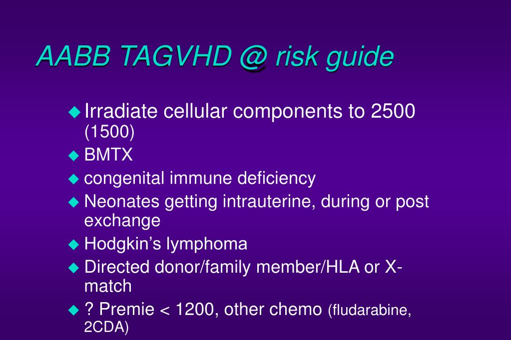 AABB TAGVHD @ risk guide