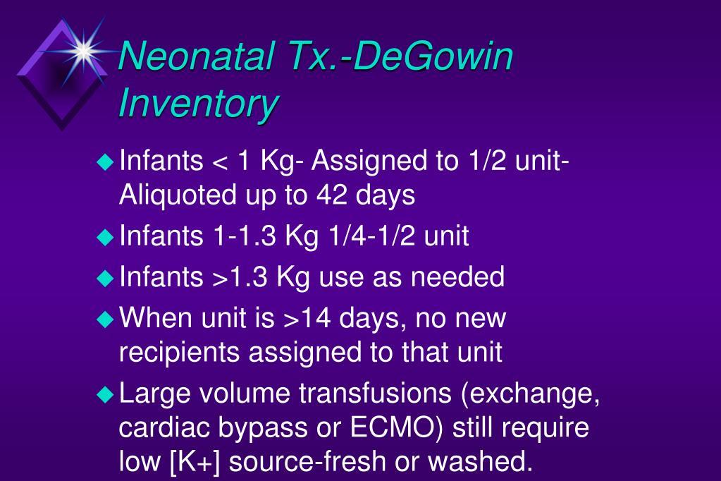 Neonatal Tx.-DeGowin Inventory