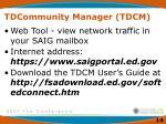 tdcommunity manager tdcm