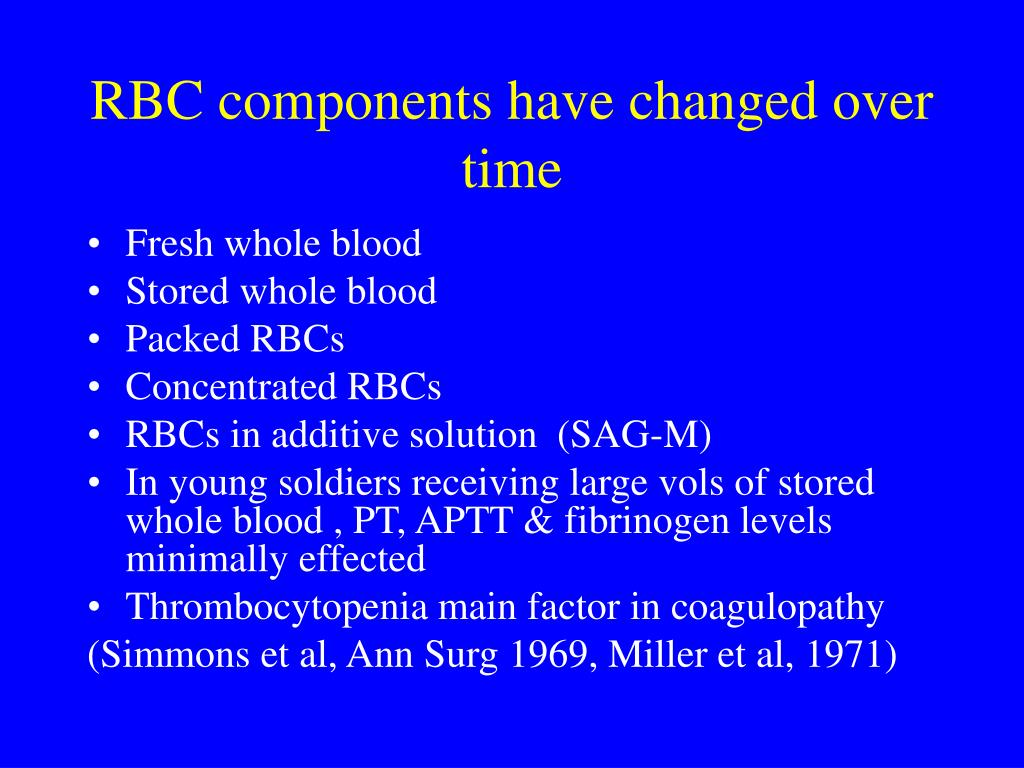 RBC components have changed over time