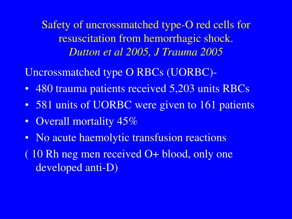 Safety of uncrossmatched type-O red cells for resuscitation from hemorrhagic shock.
