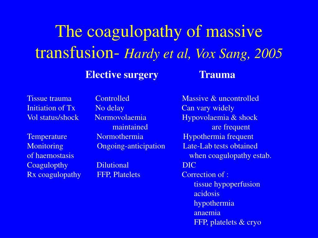 The coagulopathy of massive transfusion-