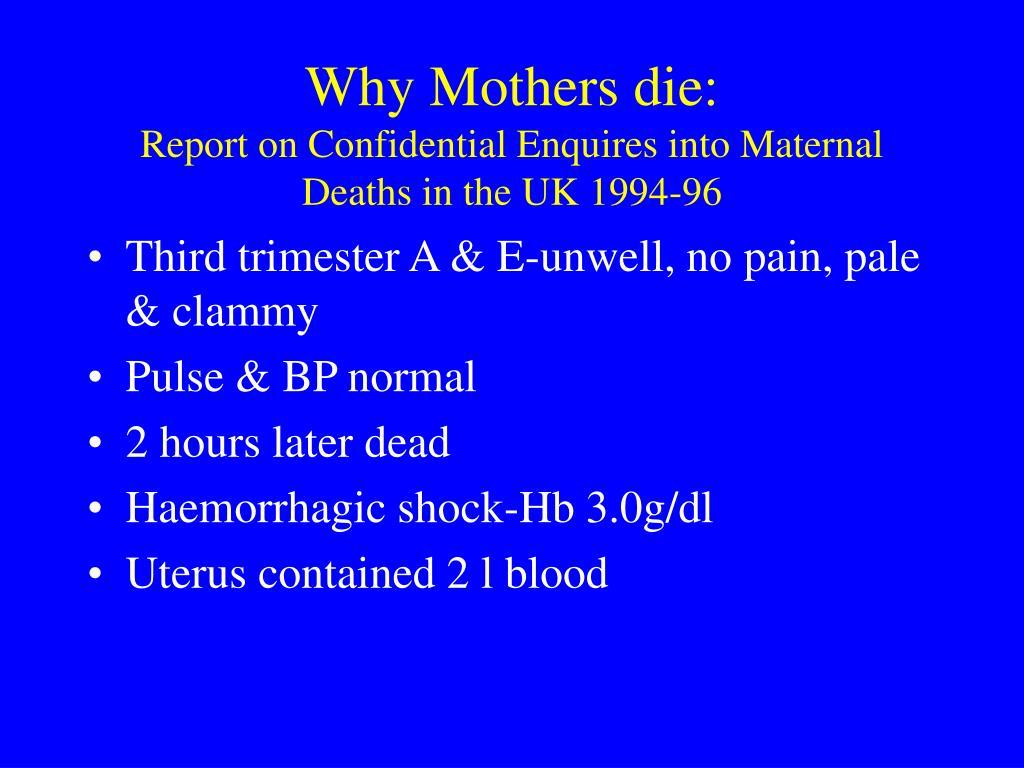 Why Mothers die: