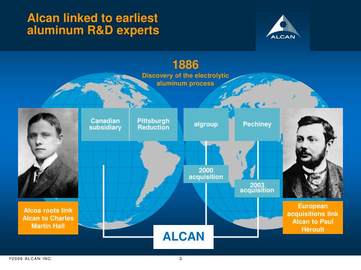 Alcan linked to earliest aluminum r d experts