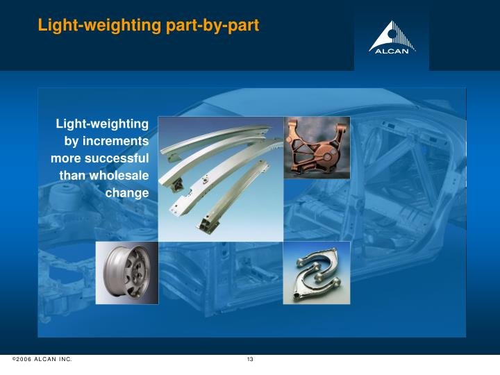 Light-weighting part-by-part