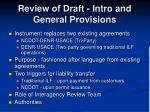 review of draft intro and general provisions