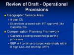 review of draft operational provisions