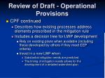 review of draft operational provisions11