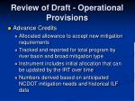 review of draft operational provisions14