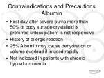 contraindications and precautions albumin