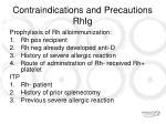 contraindications and precautions rhig