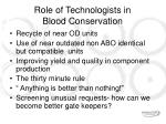 role of technologists in blood conservation