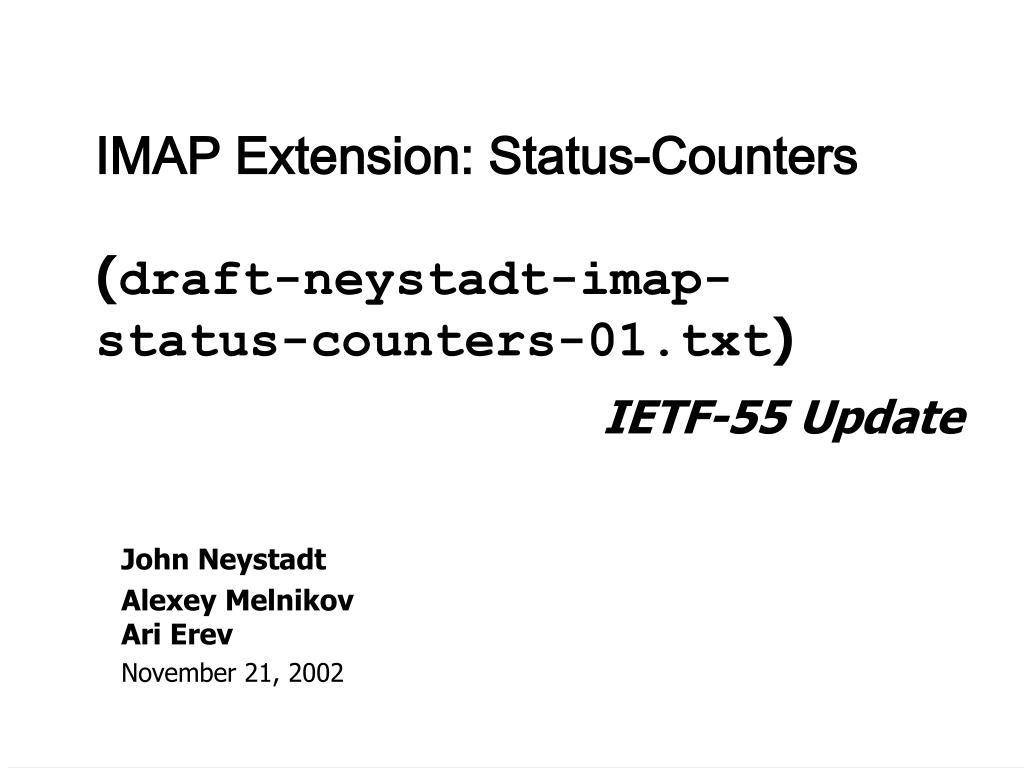 imap extension status counters draft neystadt imap status counters 01 txt l.