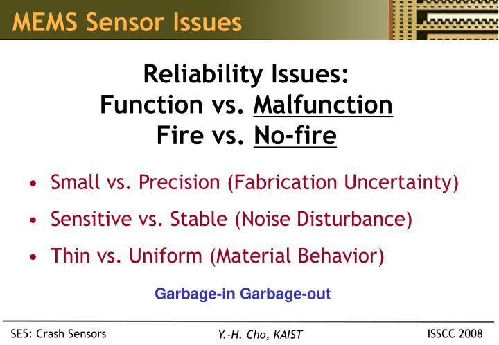 MEMS Sensor Issues