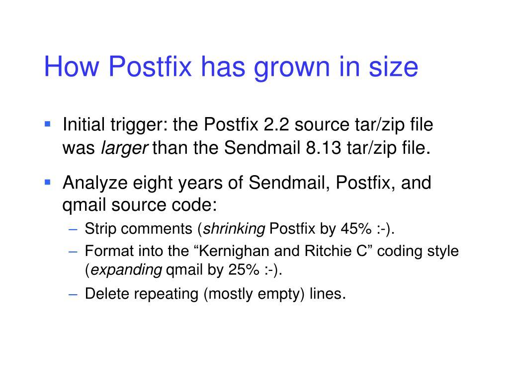 How Postfix has grown in size