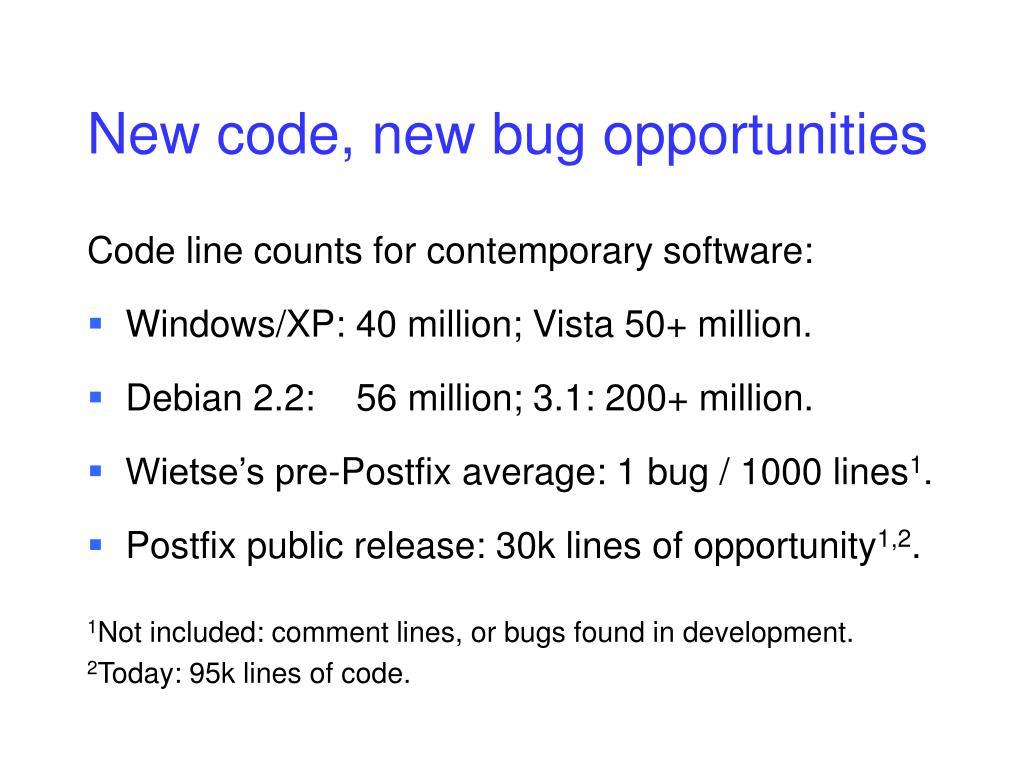 New code, new bug opportunities