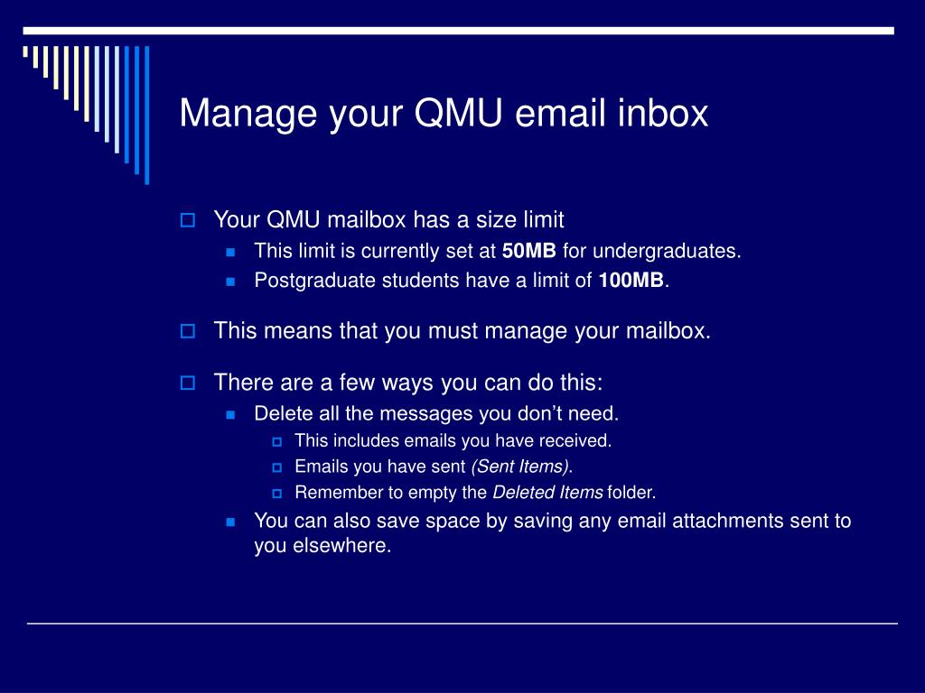 Manage your QMU email inbox