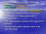 email routing across internet