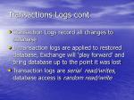 transactions logs cont