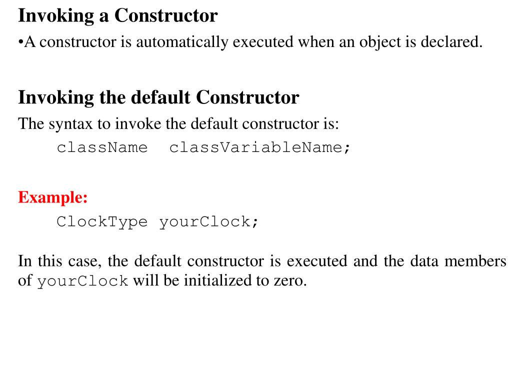 Invoking a Constructor