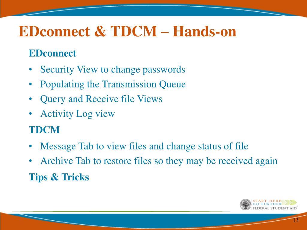 EDconnect & TDCM – Hands-on