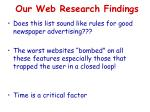 our web research findings1