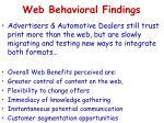 web behavioral findings