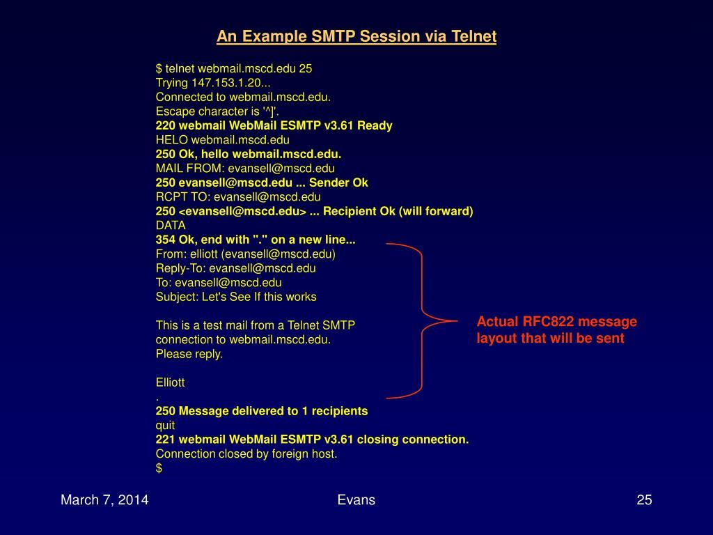 An Example SMTP Session via Telnet