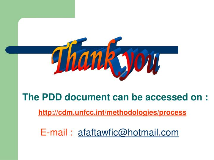 The PDD document can be accessed on :