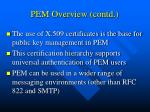pem overview contd