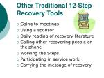 other traditional 12 step recovery tools